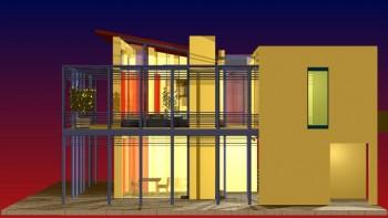 Νυχτερινή άποψη κατοικίας, εξωτερικό (αρχιτ. μελέτη: Μ. Φίλιππα).