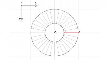 <b>Σχήμα 3:</b> Ο κόλουρος κώνος, όπως κατασκευάστηκε, σε κάτοψη