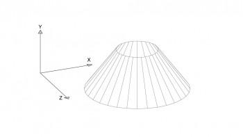 <b>Σχήμα 4:</b> Ο κόλουρος κώνος σε τρισδιάστατη ποιοτική απεικόνιση