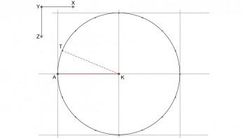 <b>Σχήμα 2:</b> Κατασκευή κύκλου ακτίνας 4 μέτρων και χωρισμός της περιφέρειας συτού σε 16 ίσα τόξα