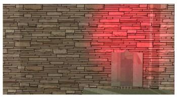 Παράδειγμα απόδοσης γωνιακού φωτισμού κόκκινου χρώματος.