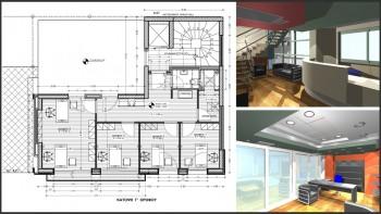 Κάτοψη ορόφου και φωτορεαλισμοί εσωτερικών χώρων (κτίριο γραφείων, αρχ. Ι. Σακελλάρης)