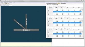 <b>Εικόνα 6:</b>Η καρτέλα «Φορτία» με τις καταπονήσεις των μελών του εξεταζόμενου κόμβου για κάθε έναν από τους συνδυασμούς φορτίσεων του αρχείου *.tek.