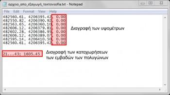 <b> Εικόνα 2:</b> Στο αρχείο .txt διαγραφή των καταχωρήσεων των εμβαδών των πολυγώνων &#038; και της τρίτη στήλη με τα υψόμετρα.
