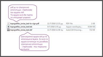 Τα παραγομενα αρχεία dxf & pdf με το hashcode, παράγονται αυτόματα με την ολοκλήρωση της διαδικασίας μετατροπής.