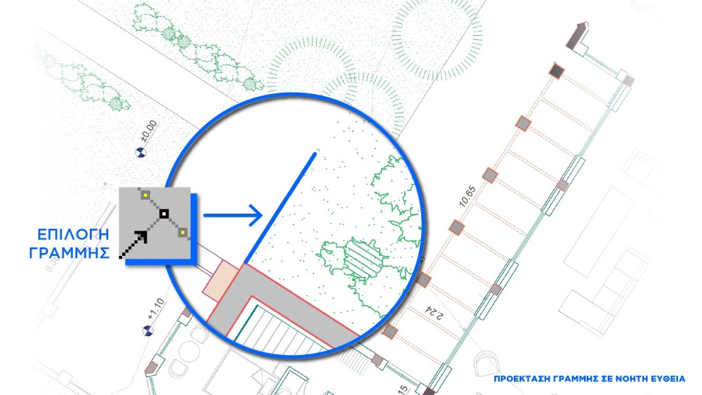 Η επιλεγμένη γραμμή προς προέκταση σε νοητή ευθεία