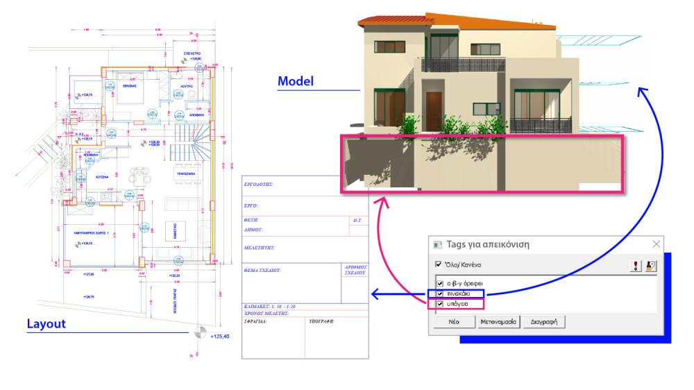 """Για την εκτύπωση των σχεδίων μου (layout) επιλέγω να είναι ορατά τα tags """"πινακάκι"""",  """"υπόγειο"""" και """"α-β-γ όροφοι""""..."""